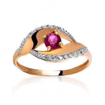 Кольцо с рубеллитом и фианитами из золота