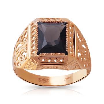 Кольцо-печатка из золота с раух-топазом