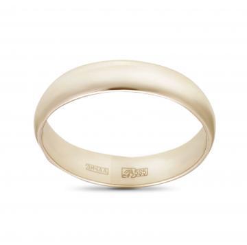 Кольцо обручальное гладкое из золота, 4 мм