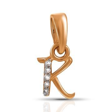 Подвеска TALANT буква К из золота с бриллиантами