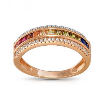 Кольцо из серебра со шпинелью, рубинами и фианитами