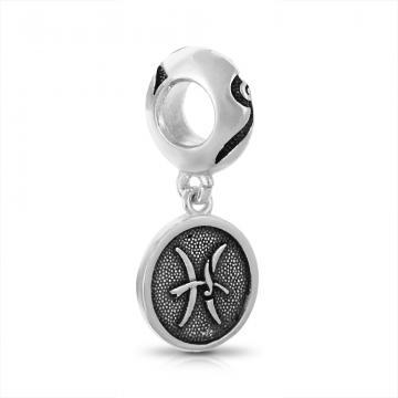 Подвеска-шарм из серебра, знак зодиака Рыбы
