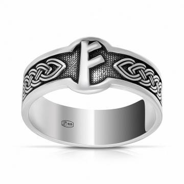 Кольцо руна Владения Феху из серебра