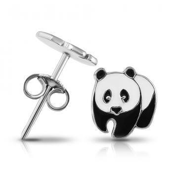 Серьги-пусеты Панда из серебра с эмалью
