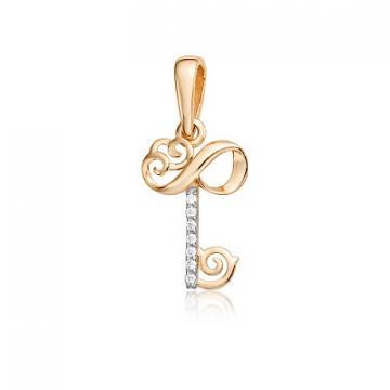 Подвеска TALANT Ключ из золота с фианитами