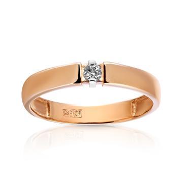 Кольцо обручальное из золота с кристаллом SWAROVSKI