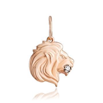 Подвеска из золота с фианитом, знак зодиака Лев