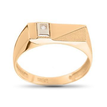 Кольцо печатка из золота с фианитом