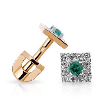 Серьги-пусеты с изумрудом и бриллиантами из золота