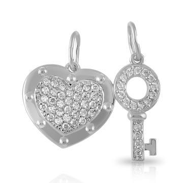 Подвеска парная Сердце и ключик из серебра с фианитами
