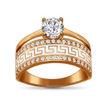 Кольцо из серебра SOKOLOV с эмалью и фианитом