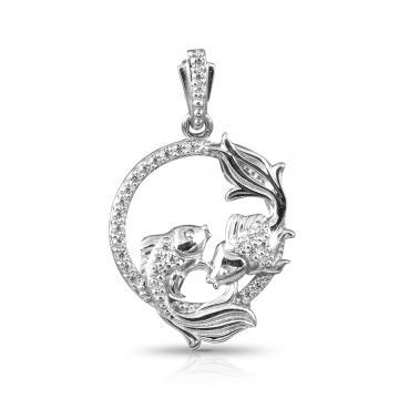 Подвеска из серебра с фианитами, знак зодиака Рыбы