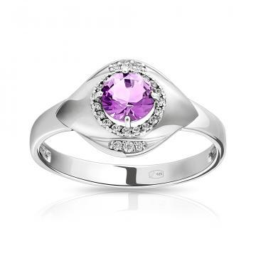 Кольцо из серебра с ювелирным кристаллом и фианитами