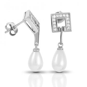 Серьги-пусеты из серебра с жемчугом и фианитами