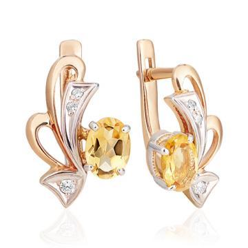 Серьги из золота с цитрином и фианитом