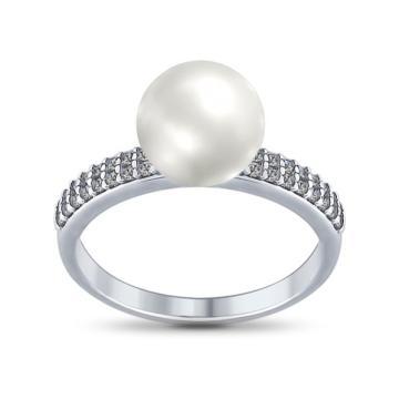 Кольцо SOKOLOV с жемчугом и фианитами из серебра