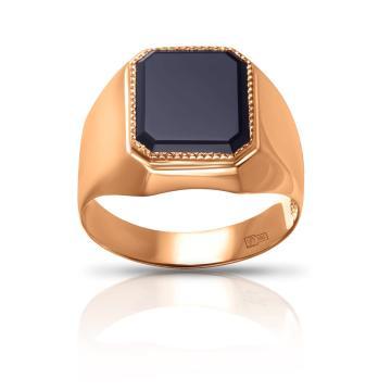 Кольцо-печатка из золота с агатом