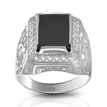 Кольцо-печатка из серебра с ониксом