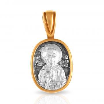 Святая Блаженная Матрона Московская, подвес-икона из серебра