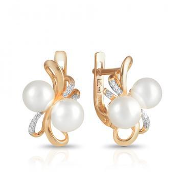 Серьги с белым жемчугом и бриллиантами из золота