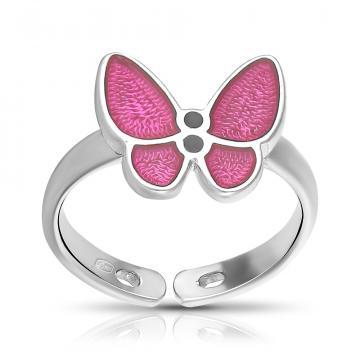 Кольцо Бабочка из серебра с эмалью