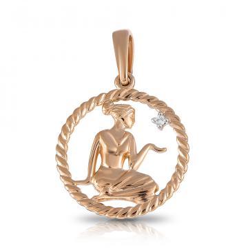 Подвеска TALANT из золота с фианитом, знак зодиака Дева