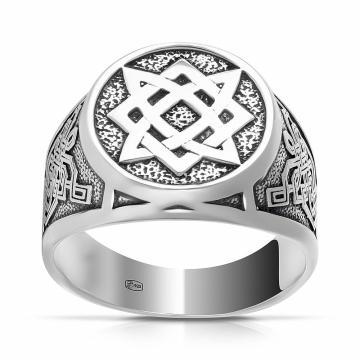 Кольцо-печатка оберег Звезда Руси из серебра