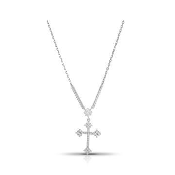 Колье SOKOLOV Крест из серебра с фианитами
