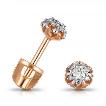 Cерьги-пусеты из золота с бриллиантами