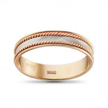 Кольцо обручальное Косы, премиум, 5 мм