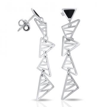 Серьги-пусеты из серебра с эмалью, коллекция Геометрия