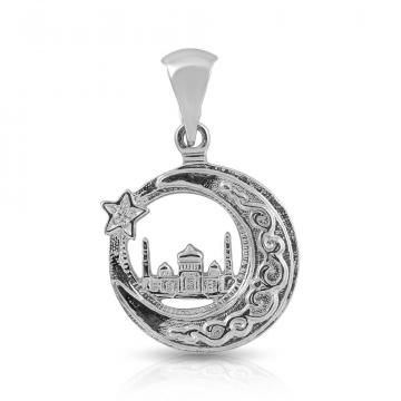 Подвеска мусульманская Полумесяц Мечеть из серебра