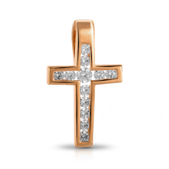 Подвеска-крестик из золота с фианитами