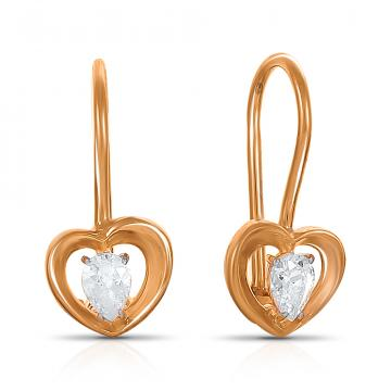 Серьги детские TALANT Сердце из серебра с фианитами