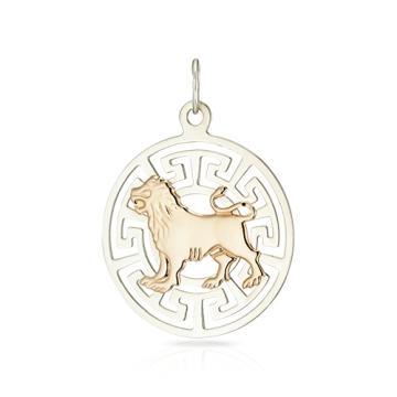 Подвеска двусплавная из золота и серебра, знак зодиака Лев