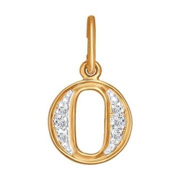 Подвеска буква О из золота с фианитом