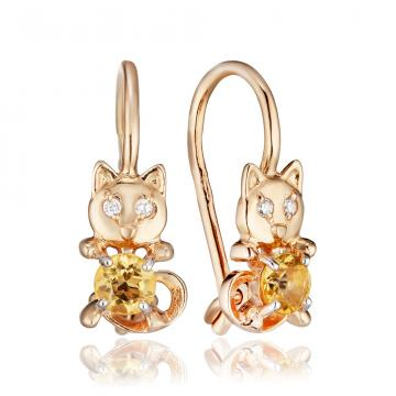 Серьги Кошка детские из золота с цитрином и фианитами