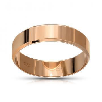 Кольцо обручальное из золота гладкое, плоское, 5 мм