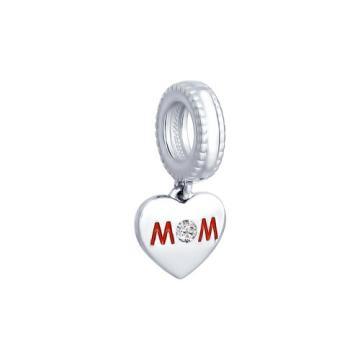 Подвеска-шарм SOKOLOV Сердце из серебра с эмалью и фианитом