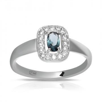 Кольцо из серебра с ювелирным кристаллом и фианитом