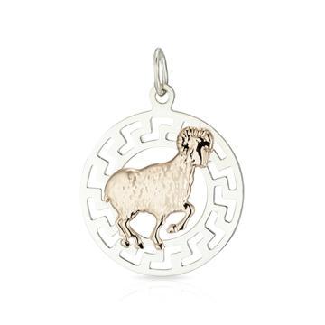 Подвеска из золота и серебра, двусплавная, знак зодиака Овен