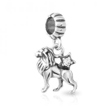 Подвеска-шарм Лев из серебра с фианитом