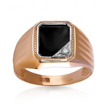 Кольцо-печатка из золота с ониксом и фианитом