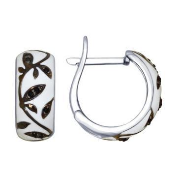 Серьги SOKOLOV из серебра с эмалью и фианитами