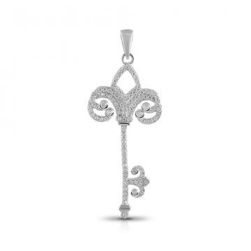 Подвеска Ключ из серебра с фианитами
