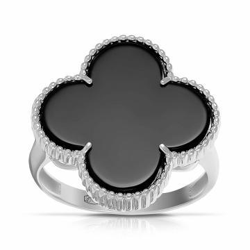 Кольцо из серебра с ониксом, коллекция КЛЕВЕР