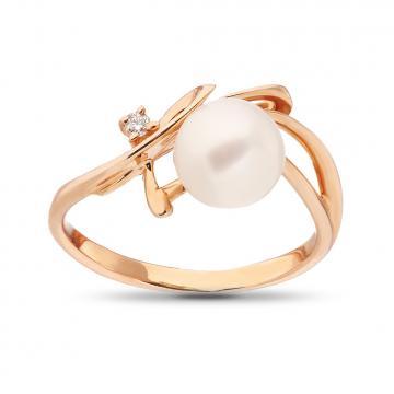 Кольцо с бриллиантом и жемчугом из золота