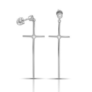 Серьги-пусеты SOKOLOV Крест из серебра с фианитами