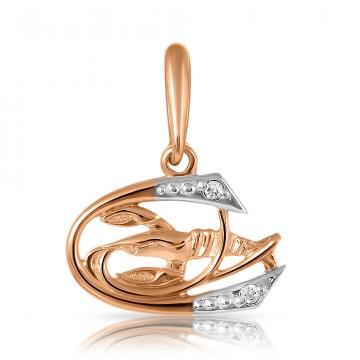 Подвеска из золота с фианитами, знак зодиака Рак