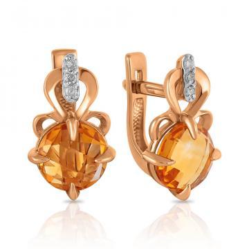 Серьги из золота с цитринами и бриллиантами